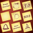 Yellow cards for New Year Day - Stock Vector