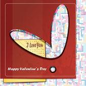 Alla hjärtans dag-kort med röd bakgrund — Stockvektor