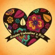 Valentines Day card with flowers and leafs background — Stockvektor