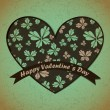ストックベクタ: Valentines Day card with flowers and leafs background