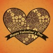 Valentines Day card with flowers and leafs background - Stock Vector