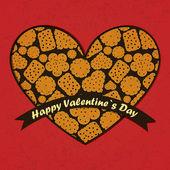 Dia dos namorados cartão com flores e folhas de fundo — Vetor de Stock
