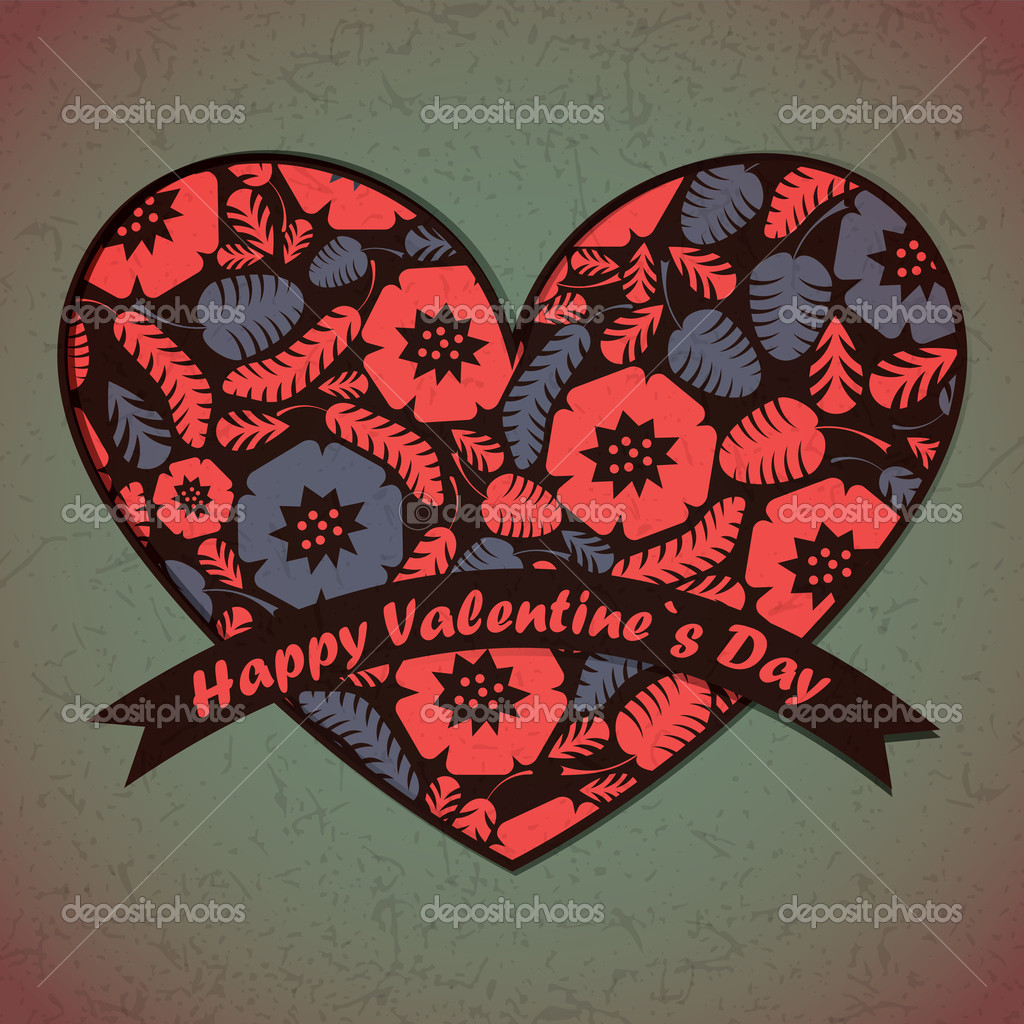 Valentines Day card with flowers and leafs background — Imagens vectoriais em stock #18879869