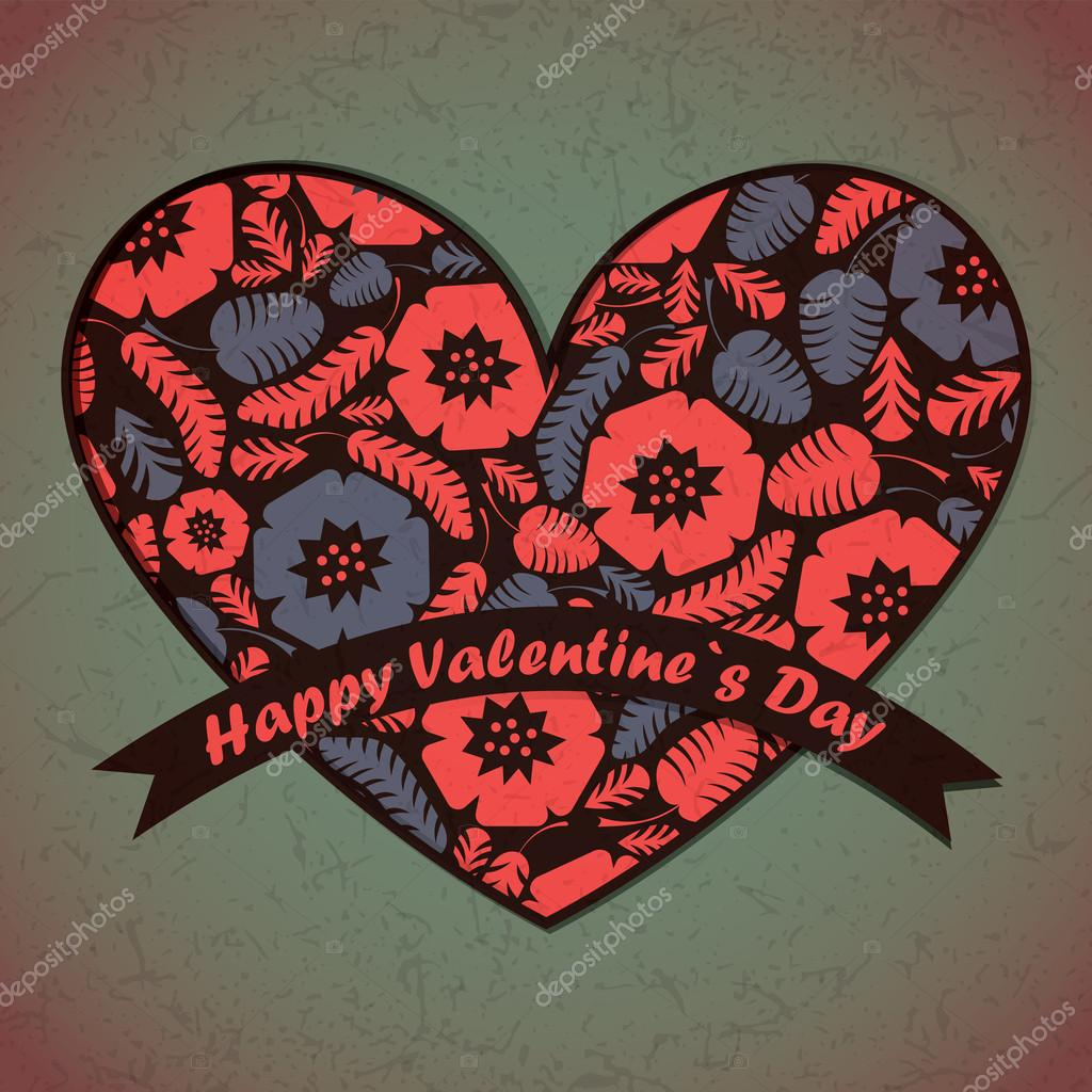 Valentines Day card with flowers and leafs background — Imagen vectorial #18879869