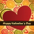 Stock Vector: Valentines Day card with red background