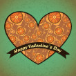 Vector de stock : Valentines Day card with flowers and leafs background
