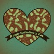 Valentines Day card with leafs background — Vettoriali Stock