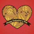 Royalty-Free Stock Векторное изображение: Valentines Day card with leafs background