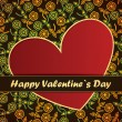 图库矢量图片: Valentines Day card with flowers and leafs background