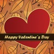 Valentines Day card with leafs background - Stock Vector
