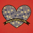 Valentines Day card with red background — Imagens vectoriais em stock