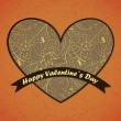 Royalty-Free Stock Векторное изображение: Valentines Day card with flowers and leafs background