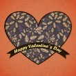 Valentines Day card with flowers and leafs background — Stok Vektör