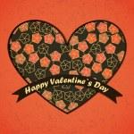 día de San Valentín tarjeta con flores y hojas de fondo — Vector de stock