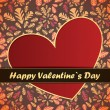 Valentines Day card with flowers and leafs background — Vector de stock #18882209