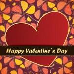 Saint Valentin carte avec fleurs et feuilles fond — Vecteur