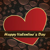 Valentines Day card with red background — Vector de stock