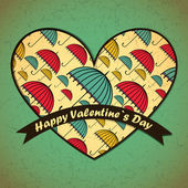 Valentines Day card with umbrella background — Stock Vector