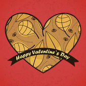 バレンタインの日カードの葉の背景 — ストックベクタ