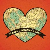 Valentijnsdag kaart met bladeren achtergrond — Stockvector