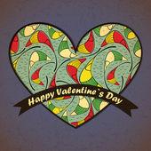 Alla hjärtans dag-kort med blommor och blad bakgrund — Stockvektor
