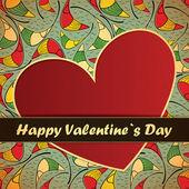 Valentijnsdag kaart met bloemen en blaadjes achtergrond — Stockvector