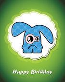 Happy birthday card with cute cartoon monster, vector — Stock Vector