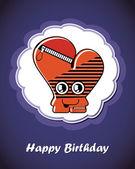 Všechno nejlepší k narozeninám karta s roztomilé kreslené monster, vektorové — Stock vektor