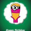 Royalty-Free Stock Vector Image: Happy birthday card with cute cartoon monster, vector
