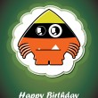 Happy birthday card with cute cartoon monster, vector — Vettoriali Stock