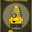 Happy birthday card with cute cartoon monster, vector — Stockvektor