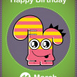 Happy birthday card with cute cartoon monster, vector — Stock vektor