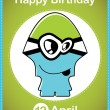 Happy birthday card with cute cartoon monster, vector — Imagen vectorial