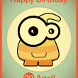 Happy birthday card with cute cartoon monster, vector — Image vectorielle