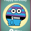 Happy birthday card with cute cartoon monster, vector — ベクター素材ストック