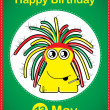 Happy birthday card with cute cartoon monster, vector - Stock Vector