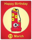 Carte de joyeux anniversaire avec monstre de dessin animé mignon, vecteur — Vecteur