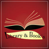 Library and books — Vettoriale Stock