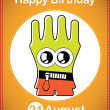 Happy birthday card with cute cartoon monster — Vettoriali Stock