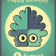 Happy birthday card with cute cartoon monster — Imagen vectorial