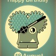Happy birthday card with cute cartoon monster — Stock vektor