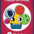 Happy birthday card with cute cartoon monster — Stock Vector #23407488