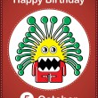 Happy birthday card with cute cartoon monster - Stock Vector