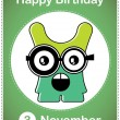 Happy birthday card with cute cartoon monster — Stock Vector