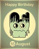 Happy birthday card with cute cartoon monster — Stock Vector