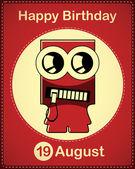 Card di buon compleanno con mostro simpatico cartone animato — Vettoriale Stock