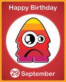 с днем рождения карты с милый мультфильм чудовище — Cтоковый вектор