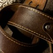 Brown leather belt — Stock Photo