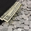 Dollars in wallet and cents — Stock Photo