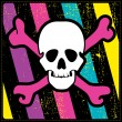 图库矢量图片: White skull on grunge colorful background